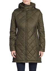Saks Fifth Avenue Diamond Quilted Parka Army