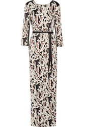 Karl Lagerfeld Printed Crepe De Chine Maxi Dress Multi