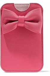 Red V Bow Embellished Textured Leather Phone Case Pink