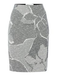 Hugo Boss Knitted Pencil Skirt With Floral Pattern Grey