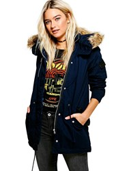 Boohoo Leather Look Trim Parka Navy