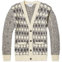 Thom Browne Donegal Fun Mix Fair Isle Cardigan Grey Mix