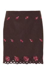 Luisa Beccaria Linen Embroidered Mini Skirt Floral