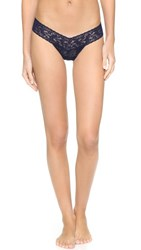 Hanky Panky Petite Signature Lace Low Rise Thong Navy