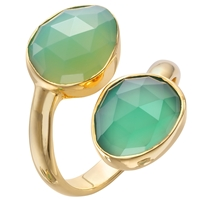 John Lewis Gemstones Gold Plated Onyx Stacked Two Tear Drop Ring Green