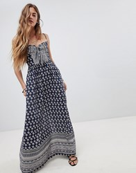 Band Of Gypsies Tie Front Maxi Dress In Border Print Navy