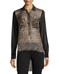 Single Dress Single Sheer Animal Print Silk Blouse Sand