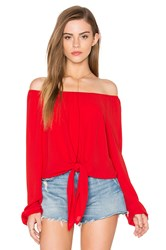 Eight Sixty Off The Shoulder Tied Waist Top Red