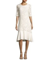 See By Chloe Lace Half Sleeve Peplum Hem Midi Dress White