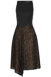 Jason Wu Draped Wool Blend Cady And Herringbone Lace Midi Dress Black