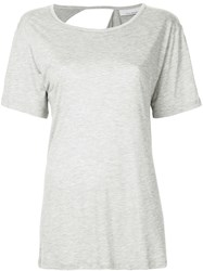 Kacey Devlin Exposed Shoulder Blade T Shirt Bamboo Spandex Elastane Grey