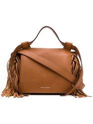 Elena Ghisellini Fringed Sides Crossbody Bag Brown