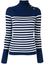 Baum Und Pferdgarten Knit Sailor Stripe Turtleneck Sweater Blue