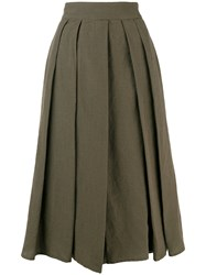 Aspesi Pleated Midi Skirt Green