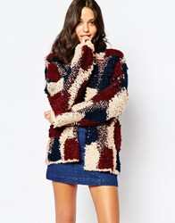 Pull And Bear Pullandbear Patchwork Coatigan Multi