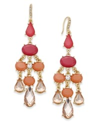 Inc International Concepts Gold Tone Pink Stone Chandelier Earrings Only At Macy's