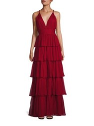 Alice Olivia Gianna Braid Strap Tiered Gown