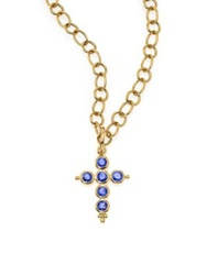 Temple St. Clair Classic Color Sapphire And 18K Yellow Gold Cross Pendant