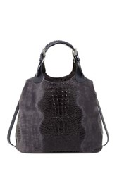 Croc Embossed Leather Handbag Gray