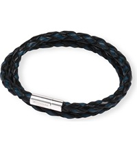 Tateossian Silver Pop Scoubidou Leather Bracelet Blue Black