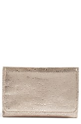 Hobo Women's 'Jill' Trifold Wallet Metallic Platinum Exotic