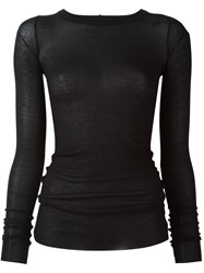 Rick Owens Round Neck T Shirt Black