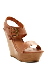Red Circle Stem Wedge Sandal Brown