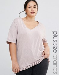 Missguided Plus Burnout V Neck T Shirt Pink