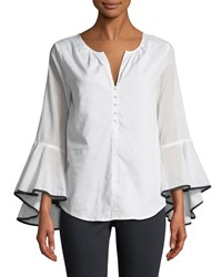 Philosophy Bell Sleeve Button Front Shirt White