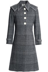 Marco De Vincenzo Prince Of Wales Checked Wool Coat Gray