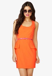 Forever 21 Peplum Paneled Dress W Faux Patent Leather Belt Neon Orange