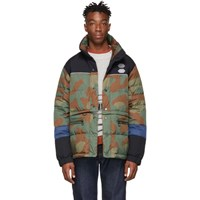Off White Green And Brown Camo Down Puffer Jacket