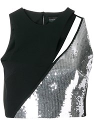 David Koma Panelled Sequin Top Black