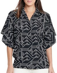 Lauren Ralph Lauren Karlot Relaxed Fit Geo Printed Shirt Black Cream