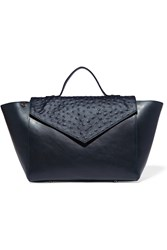 Iris And Ink Ostrich Paneled Leather Tote Blue