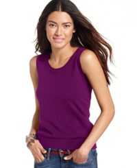 August Silk Sleeveless Silk Blend Scoop Neck Shell Dk Purple