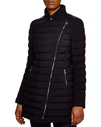 Moncler Anastasia Asymmetric Long Down Coat Navy