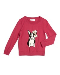 Milly Minis Bulldog Crewneck Pullover Sweater Raspberry 4 6