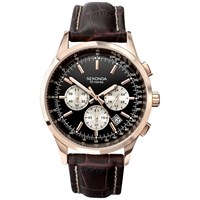 Sekonda 3413.27 Men's Chronograph Leather Strap Watch Brown Black