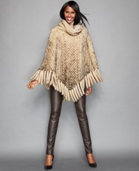 The Fur Vault Knitted Mink Fur Fringed Poncho Beige