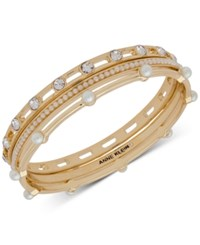 Anne Klein Gold Tone 3 Pc. Set Crystal And Imitation Pearl Bangle Bracelets