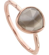 Monica Vinader Siren 18Ct Rose Gold Vermeil And Grey Agate Stacking Ring