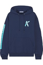 Koza Wave Printed Cotton Blend Jersey Hooded Top Navy