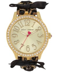 Betsey Johnson Women's Brown Leopard Printed Imitation Leather Strap Watch 42Mm Bj00131 78 Gold