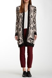 Fate Open Front Aztec Print Sweater Brown