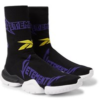 Vetements Reebok Sock Pump Logo Jacquard Stretch Knit Sneakers Black