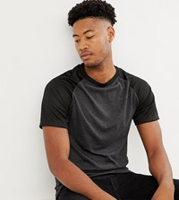 D Struct Tall Raglan Mesh Sleeve T Shirt Black