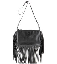 Saint Laurent Small Monogram Fringed Leather Shoulder Bag Black