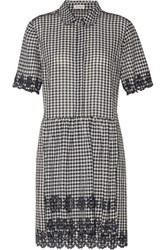 Suno Broderie Anglaise Trimmed Gingham Cotton Mini Dress Black