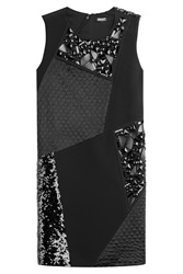 Dkny Patchwork Dress With Sequins And Bead Embellishment Black